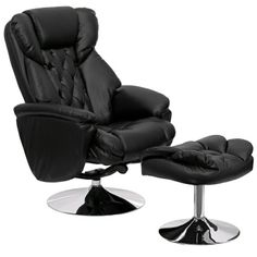 flash furniture black leather recliner and ottoman w chrome base