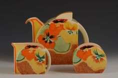 Andrew Muir | Clarice Cliff, Art Deco Pottery, Moorcroft and 20th Century Ceramics Dealerclarice cliff NASTURTIUM STAMFORD TRIO C.1934