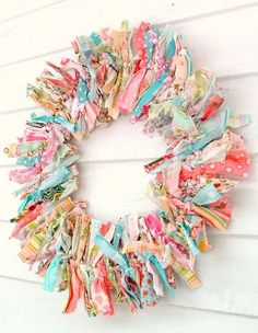 #springintothedream  Front Porch Inspiration:  Wreaths.  Scrap fabric rag wreath.  Fun, flirty, scrappy ... hey, it's the 'me' of wreaths ... :)