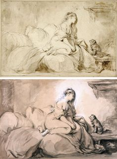 Oh! If Only He Were As Faithful to Me, Jean-Honoré Fragonard, about 1770-75. J. Paul Getty Museum (top), Villa Ephrussi de Rothschild (bottom)