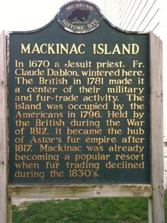 Mackinac Island Historical Marker, Mackinac Island, MI I worked on this Island for 2 summers while in college. Corinne Madias Kw Michigan Fine Homes Northville Michigan Vacations, Michigan Travel, State Of Michigan, Detroit Michigan, Northern Michigan, Lake Michigan, Michigan Facts, Mackinaw Island Michigan, Mackinaw City