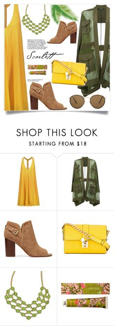 """""""green light"""" by omniaasaad ❤ liked on Polyvore featuring Alice + Olivia, Balmain, Sam Edelman, Dolce&Gabbana, 1928 and Ray-Ban"""