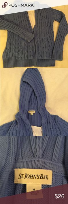 Beautiful blue sweater Pretty blue cable knit sweater.  It is hooded and has a full length zipper. Could be worn alone as a top,layered, or just a jacket. Excellent condition. Non-smoking home. St. John's Bay Sweaters
