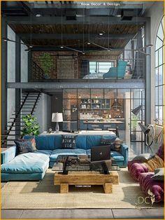 32 stylish interiors that all men will love - Salvabrani - . - home accessories - Room Decor & Design Loft Interior Design, Home Room Design, Loft Design, Design Kitchen, Loft House, House Rooms, Style At Home, Loft Stil, Loft Interiors
