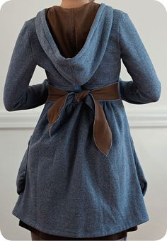 Make this with hooded sweatshirt.  Or use second sweatshirt for lining to make coat extra warm.
