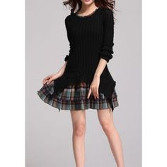 Checked Print Splicing Slimming Fashionable Jewel Neck Long Sleeve Sweater Dress
