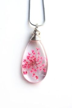 Pink Queen Anne Lace Necklace - Real Flower Encased in Resin - Pressed Flower Jewelry - Resin Jewelry - Wire Wrapped Pendant