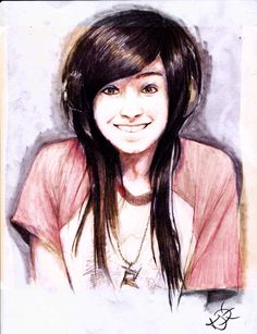 Huge kudos: credit: Christina Grimmie Smiling Sketch by EmoHoodieDude
