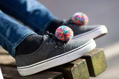 handmade shoe clips with multicolored pompoms pom pom by bimabejbe, €14.00