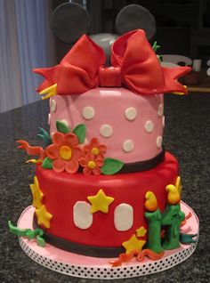 Mickey and Minnie cake! Sophia loves minnie and mickey so much, she may have another disney theme bday party!