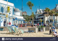 Download this stock image: Beach front view at Bournemouth, Dorset, UK. Taken on 30th September 2015. - F4NHY0 from Alamy's library of millions of high resolution stock photos, illustrations and vectors.