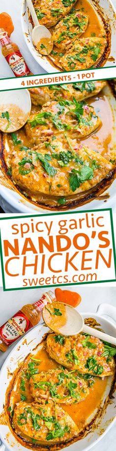 Spicy garlic nandos chicken- this is a crazy easy recipe with 4 ingredients! Juciest, most flavorful chicken EVER!