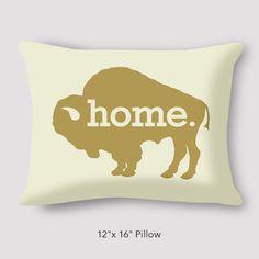 Buffalo Home by Katharine Jemison Bison Home Love Buffalo NY Love Bison 12x16 Custom Cotton Pillow Hand Sewn Zipper Fun Pillow