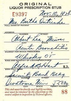 1928 Prohibition medical Whiskey prescription for acute bronchitis. Doctor Hart. Albert Lea Owatonna MN.