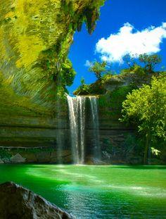 beautiful greens....and waterfall