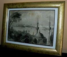 un framed antique engraving - late 1800's - image size - 15 x 10 cm - e