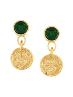 Chanel Vintage '95A Gripoix' dangly clip-on earrings