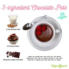 A vegan dessert on the healthier side, that takes no more than a few minutes to whip up, that is creamy and tastes heavenly? Our vegan chocolate pots are SO yummy! Chocolate Pots, Vegan Chocolate, Melting Chocolate, Chocolate Recipes, Easy No Bake Desserts, Vegan Desserts, Dessert Recipes, Vegan Food, Vegetarian Recipes Easy