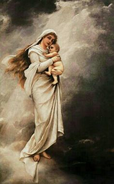 Bodenhausen created this artwork of the Virgin Mary and Child Jesus in the clouds. Blessed Mother Mary, Divine Mother, Blessed Virgin Mary, Queen Mother, Religious Pictures, Jesus Pictures, Catholic Art, Religious Art, Images Of Mary