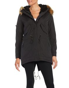 S13 Faux Fur-Accented Coat Women's Black Small