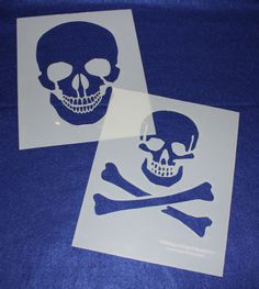 Large Skull 2 Piece Stencil Set 14 Mil X Painting /Crafts/ Templates Quilting Frames, Quilting Stencils, Quilting Rulers, Quilting Classes, Quilting Blogs, Quilting Designs, Skull Stencil, Stencil Painting, Stenciling