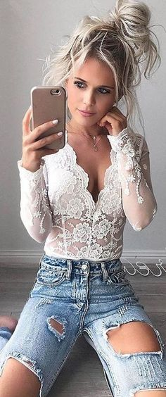 #summer #comfy #outfits | Lace + Denim