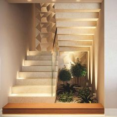 Indoor Garden Office and Office Plants Design Ideas For Summer 63 Home Stairs Design, Interior Stairs, Modern House Design, Staircase Wall Decor, House Staircase, Interior Garden, Home Interior Design, Modern Stairs, Home Decor