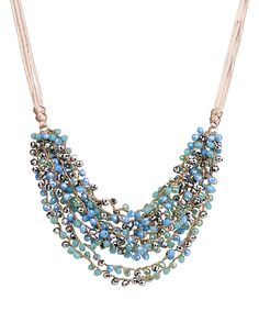 Look at this SAACHI Style Blue Beaded Ribbon Bib Necklace on #zulily today!