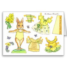 Easter Bunny paper doll card on Zazzle Paper Dolls Printable, Paper Doll Template, Easter Wishes, Paper Animals, Holiday Postcards, Holiday Cards, Vintage Paper Dolls, Paper Toys, Easter Crafts