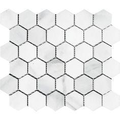 "Parvatile Verona Hexagon 2"" x 2"" Stone Mosaic Tile in Bianco Honed"