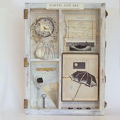 Assemblage Art Wooden Box / Joseph Cornell Tribute / Earth and Sky. $275.00, via Etsy.