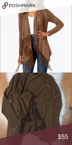 INC Suede Fringe Cardigan Worn once for thanksgiving 3 years ago. The two front sections are soft suede and the waterfall style cardigan has fringe. The sleeve and back section are like cloth material of the same color. The tag with inc is on it but not the tag with the size (I believe I removed it because it was itchy).When I purchased this it was quite pricey. In great condition! Offers always welcomed (my picture don't do it justice so please refer to the first pic) INC International…