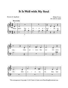 It is Well with my Soul, free printable hymn arrangement for beginner piano lessons.