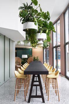 Cafeteria Design, New Interior Design, Cafe Interior, Commercial Design, Commercial Interiors, Deco Restaurant, Modern Restaurant Design, Cool Office Space, Green Office