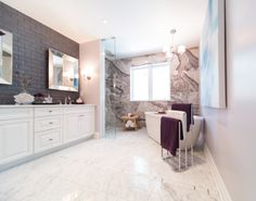 Trend alert! Bathroom spaces are being re-designed to be more like living spaces. This Property Brothers scene, complete with our Fortune collection, displays this look seamlessly! View Fortune: http://progresslighting.com/products/?q=fortune