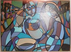 Abstract Painting: Figures with Bowls