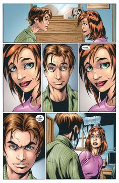 Peter Parker reveals his identity to Mary Jane Watson: Ultimate Spider-Man 13 Millie The Model, Marvel Ultimate Spider Man, Mark Bagley, Romance Comics, Mary Jane Watson, Man Illustration, Man Movies, Spider Verse, Amazing Spider