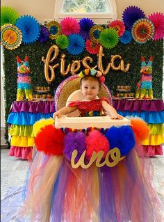 themeless first birthday Mexican Fiesta Birthday Party, 1st Birthday Party For Girls, Fiesta Theme Party, Birthday Party Themes, Taco Party, Birthday Ideas, Birthday Cakes, 2nd Birthday, High Chair Tutu