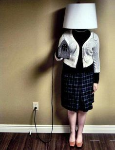 Domestic goddess, freaky, fun ,conceptual art photo, either that or gran has a very surreal way of trying to play hide and seek.