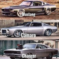 Mustang, Camaro and Charger all are my favorite. Muscle Cars Vintage, Custom Muscle Cars, Custom Cars, Vintage Cars, Supercars, Porsche Mission E, Dream Cars, Ford Classic Cars, Chevy Classic
