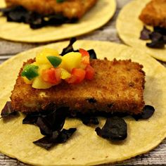 Beer battered faux fish tacos with spicy mango salsa #vegan