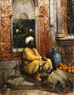 "LUDWIG DEUTSCH ""Orange Seller"" VASE vendor fan seated fruit arabic"