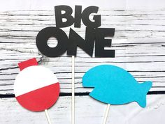 The Big ONE Fishing Birthday Cake Topper Centerpiece Bobber