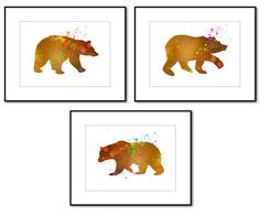 0082,Discounted Set of Three(3) Photographs,BEARS,Watercolor,Kids Room Decor,Chilrens Playroom Decor,Wall Art,Art,Fine Art Photography