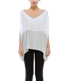 This White & Gray Color Block Dolman Top is perfect! #zulilyfinds