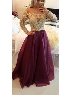 BURGUNDY CHAMPAGNE LONG SLEEVE BUTTON BACK LACE PROM DRESS