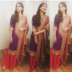 Sonam Kapoor in Anuradha Vakil for her movie Prem Ratan Dhan Paayo Promotions