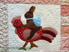 """""""Rabbits Prefer Chocolate"""" a Bunny Hill design, quilted by Leeanne at quiltmekiwi.blogspot.com"""
