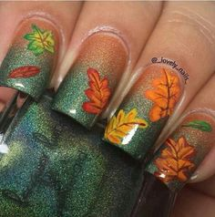 2014 Perfect Ombre Fall Leaves Nails Stickers Art - Thanksgiving Orange and Green Glitter Nails Ideas #2014 #thanksgiving