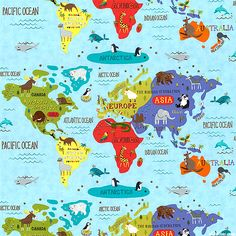 The very series sun moon gathering multi 24 x 44 panel hello world world map menagerie quilt fabrics from equilter gumiabroncs Images